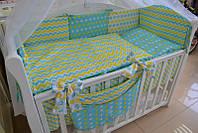 """Полный комплект в детскую кроватку из 8 предметов """"Бабочки-цветочки"""" желто-бирюзовый, фото 1"""
