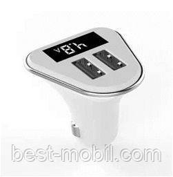 Car charger 2 usb with LCD white