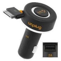 Автомобильное зарядное устройство Unplug рулетка + USB с Dock кабелем (2 А) (CCU2000IPH)