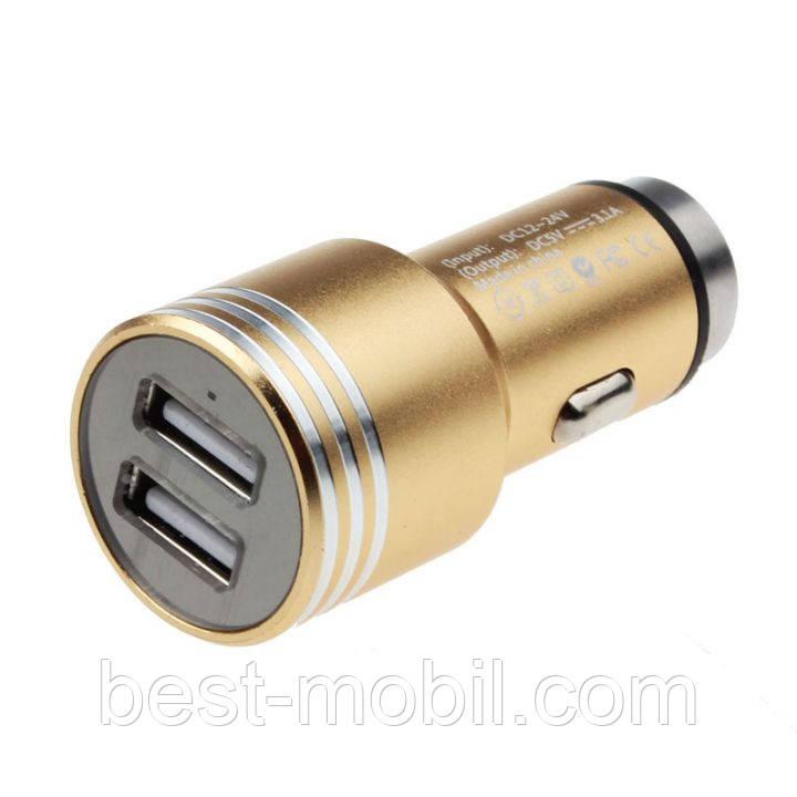 Metal car chrger 2 USB (5v 2A) в блистере