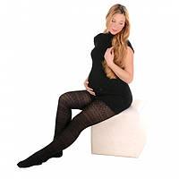 Колготки теплые для беременных с рисунком 320 den хлопковые черные
