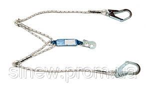 Строп двойной из плетеного шнура с тремя карабинами Sinew 1МСШ22 с амортизатором