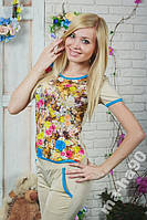 Костюм женский футболка с бриджами. S__ XXXL