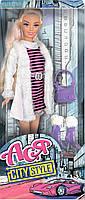Городской стиль, набор с куклой 28 см, блондинка в полосатом платье, Ася (35067)