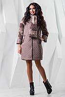 Пальто женское демисезонное с шарфом