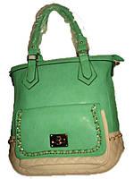 Женская сумка комбинированая зеленая