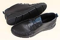 Мужские туфли - макасины кожаные черные на шнурках на черной подошве с синими вставками