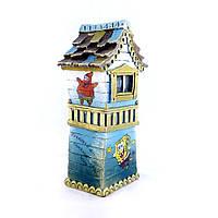 Копилка Домик Сказочный цвета тиффани изготовлен из гипса, фото 1