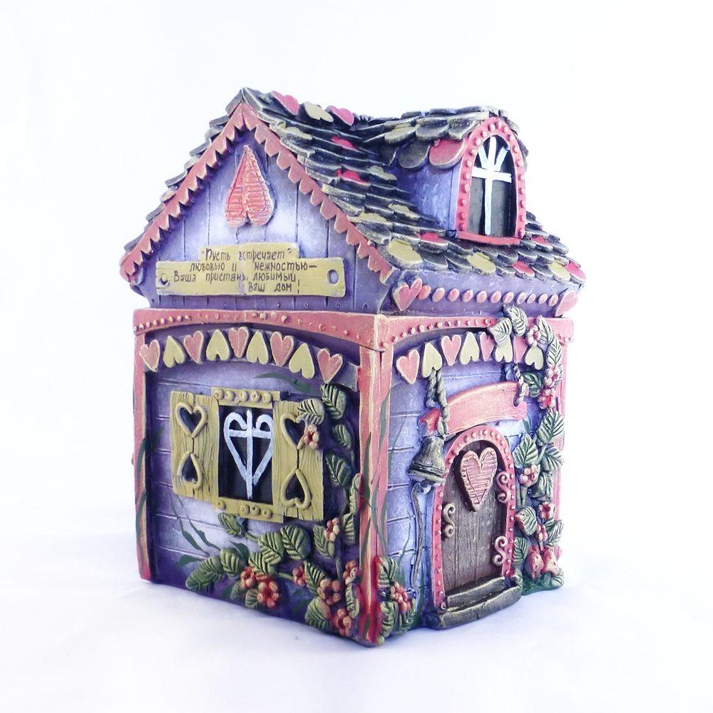 Копилка Домик Любви - это красивый и романтичный подарок лавандового цвета