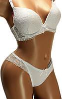 Комплект женский нижнего белья: бюстгальтер ажурный, чашка С, тонкий поролон и трусы-плавки. Розница, опт.