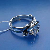 Серебряное кольцо с квадратным и круглым камнями, фото 3