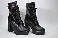 Ботинки черная кожа/лак