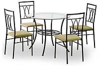 Комплект кухонный Halmar Merton со стеклянным столом и стульями