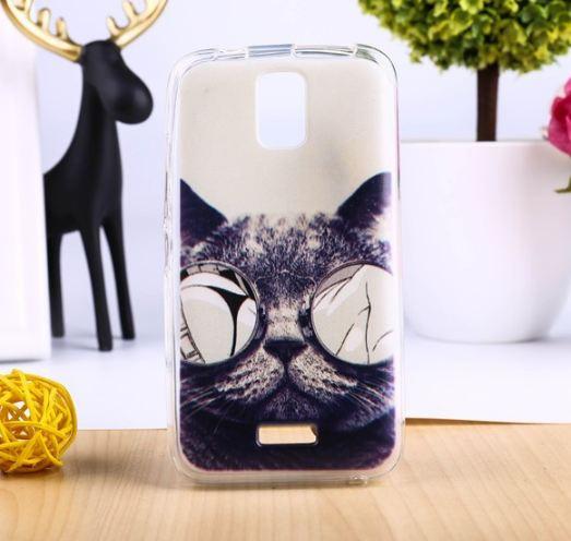 Оригинальный чехол панель накладка для Huawei Y3 с картинкой Кот в очках