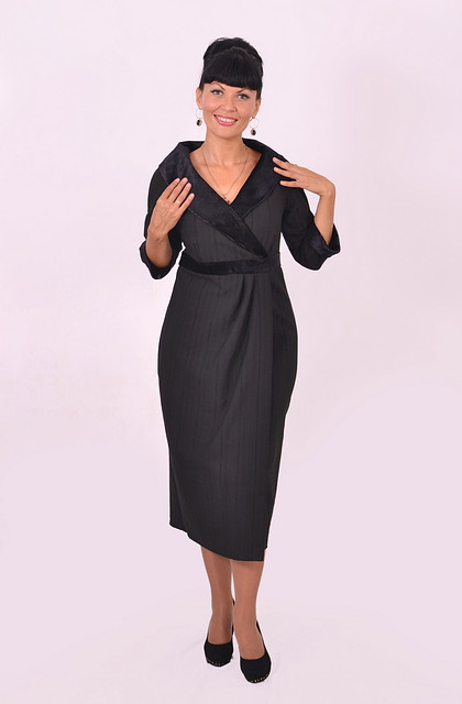 Платье-костюм черное, одежда для полных , одежда для беременных ,52,54,56,58,60 ,длинное, Пл 084 ,ботал .