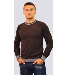Мужской свитер с U-образным вырезом коричневый