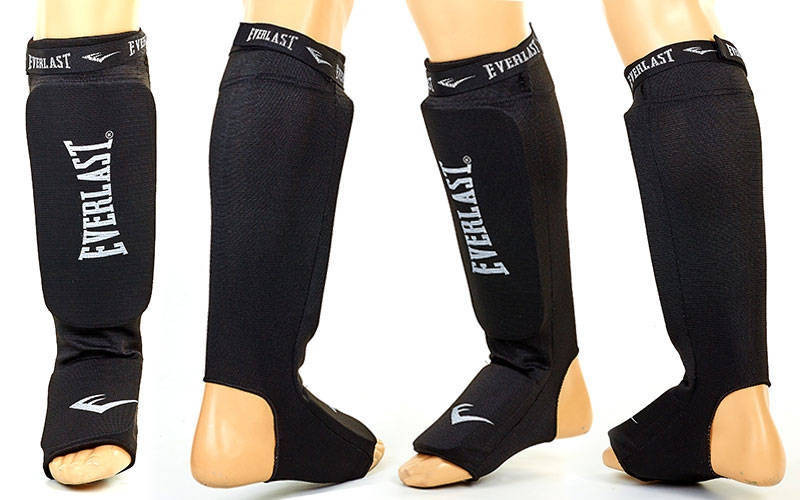 Защита для ног (голень+стопа) для тайского бокса с фиксатором EVERLAST MA-4613-BK