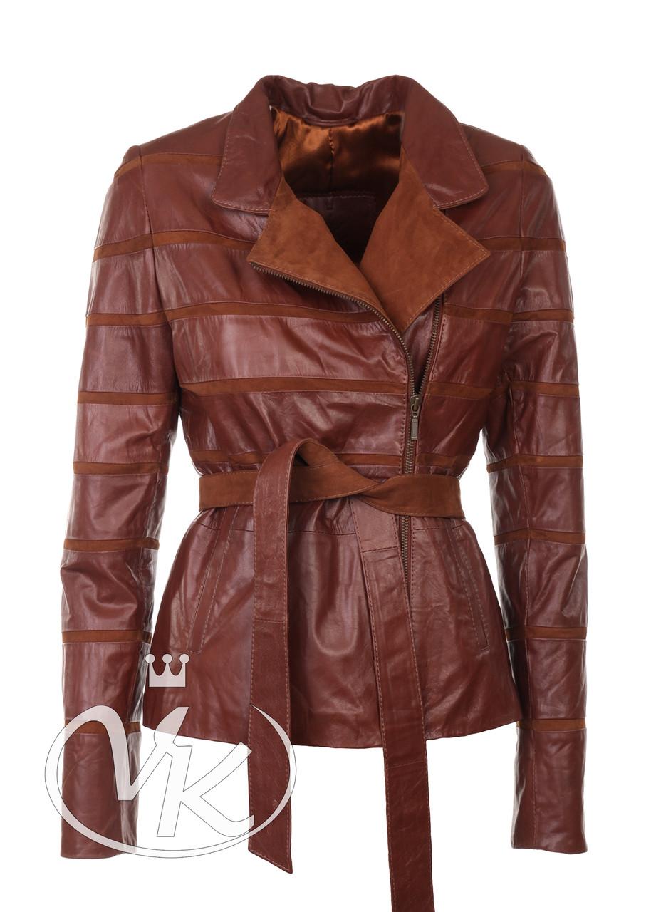 Рыжая замшевая куртка короткая женская 44 размера (Арт. LAN211)