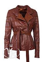 Рыжая кожаная куртка комбинированная (размер S)