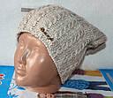 Теплая вязанная шапка  на флисе подросток, фото 2