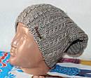 Теплая вязанная шапка  на флисе подросток, фото 5
