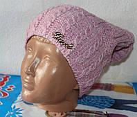 Теплая вязанная шапка  на флисе подросток