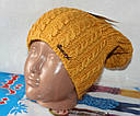 Теплая вязанная шапка  на флисе подросток, фото 7