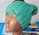 Теплая вязанная шапка  на флисе подросток, фото 3