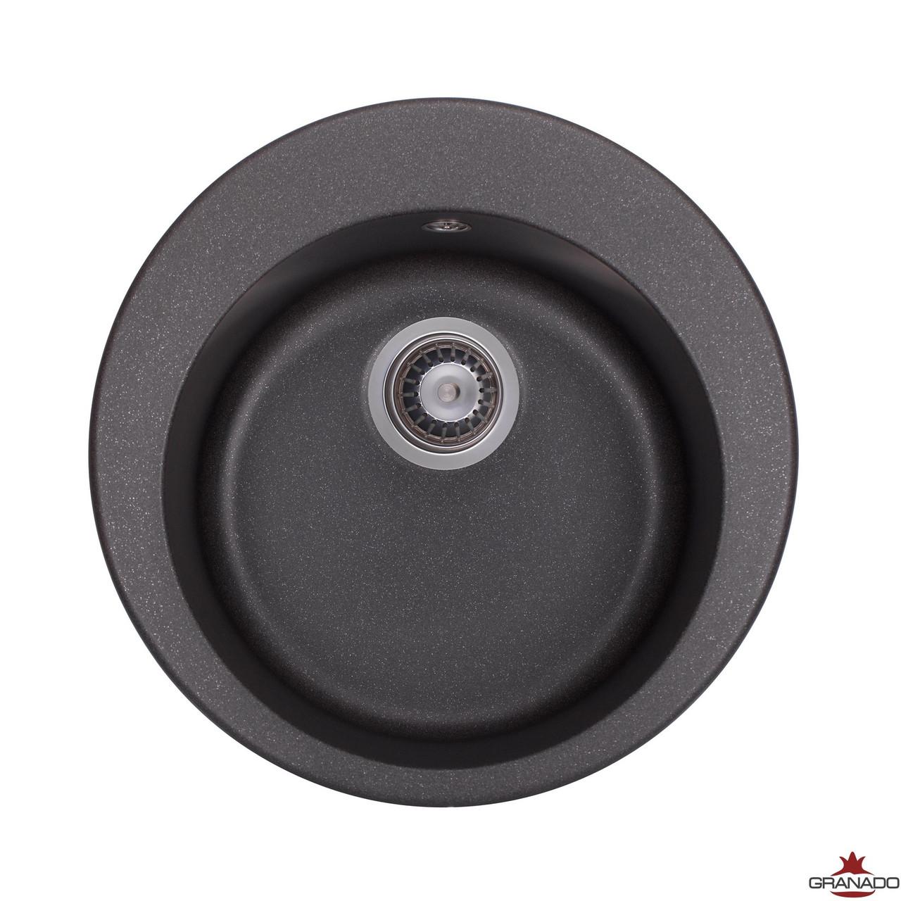 Мойка кухонная врезная круглой формы из гранита от производителя GRANADO модель VITORIA - Black