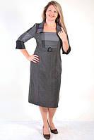 Платье шерстяное серое деловое платье костюм в клетку ПЛ 088-1