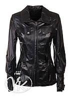 Черная кожаная куртка длинная (размер S), фото 1