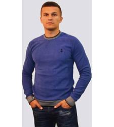 Мужской свитер с U-образным вырезом индиго