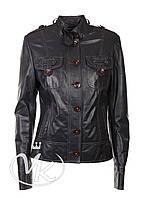 Серая кожаная куртка на пуговицах (размер М), фото 1