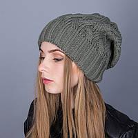 Стильная вязаная зимняя женская шапка из ангорки - Артикул 7000