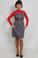 Сарафан джинсовый  для девочки с замшевым ремешком , Пл 093.