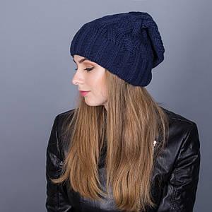 Вязаная зимняя женская шапка-чулок из ангорки - Артикул 7011