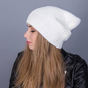 Зимняя женская шапка-чулок крупной вязки из ангорки - Артикул 7020