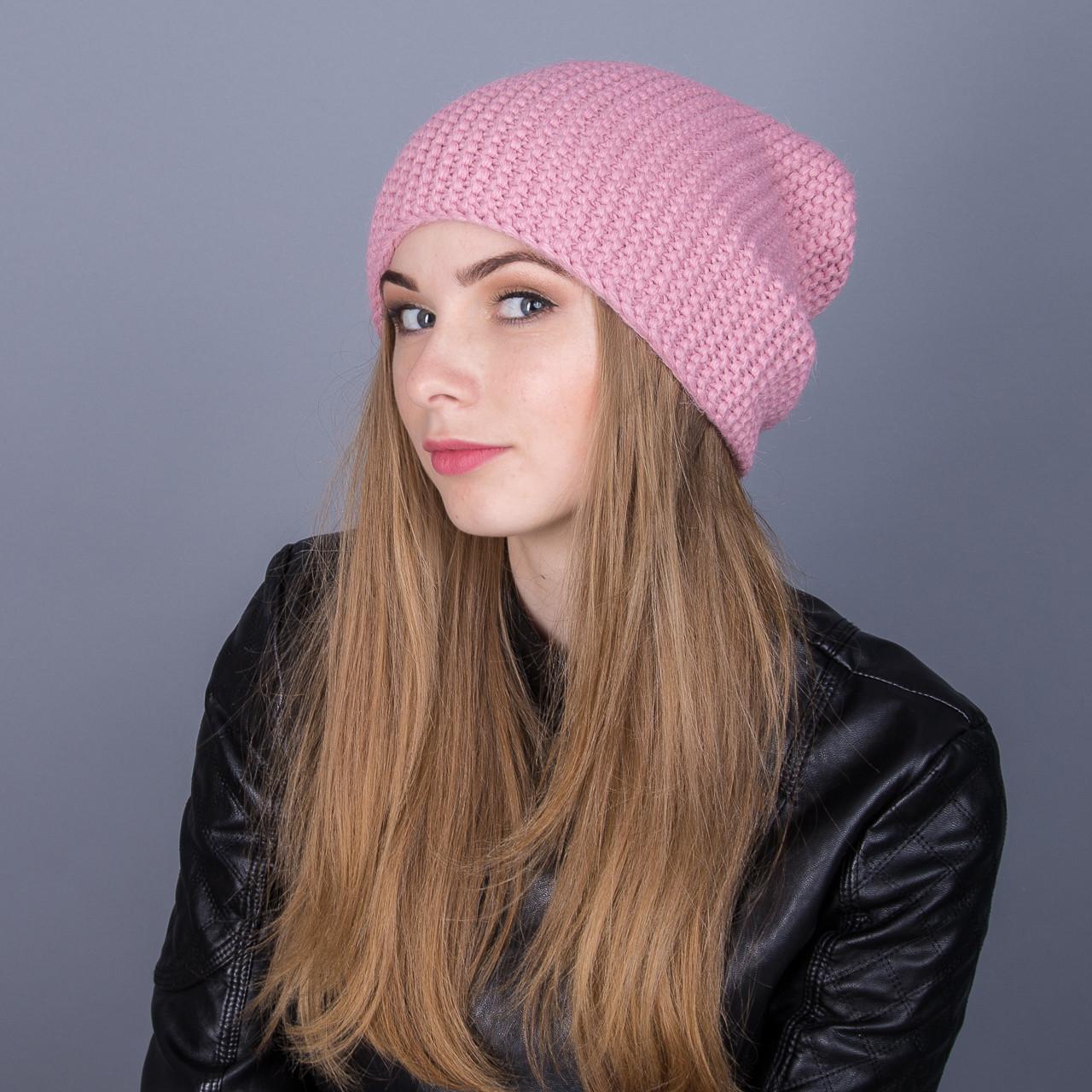 Зимняя женская шапка-чулок крупной вязки из ангорки - Артикул 7023