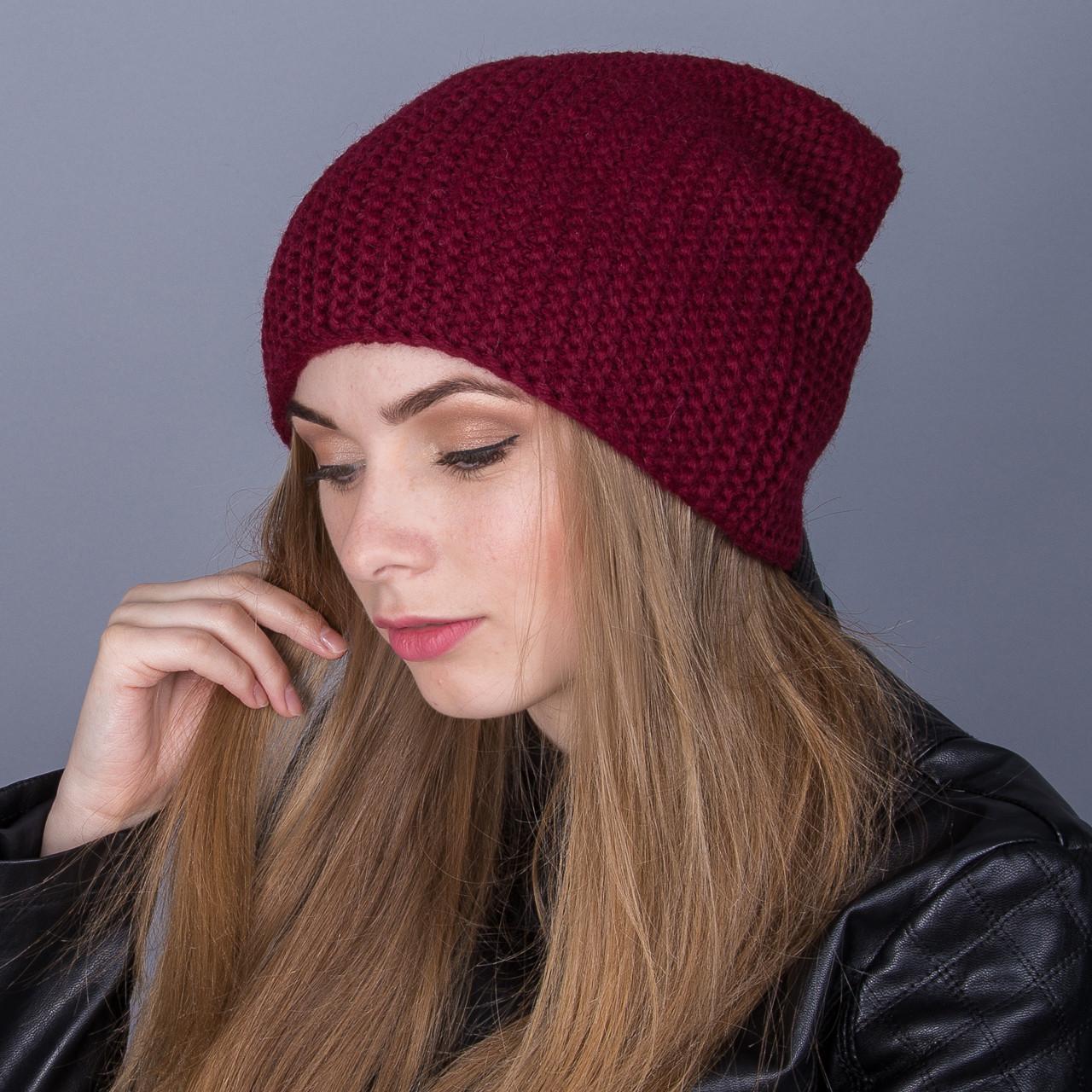 Зимняя женская шапка-чулок крупной вязки из ангорки - Артикул 7025