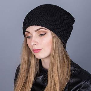 Зимняя женская шапка-чулок крупной вязки из ангорки - Артикул 7032