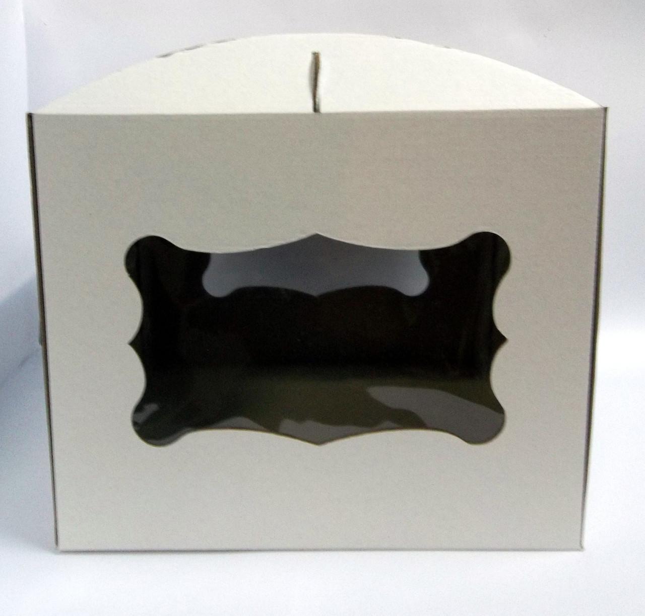 """Картонная коробка для торта """"С окном 30*30*25 см"""""""