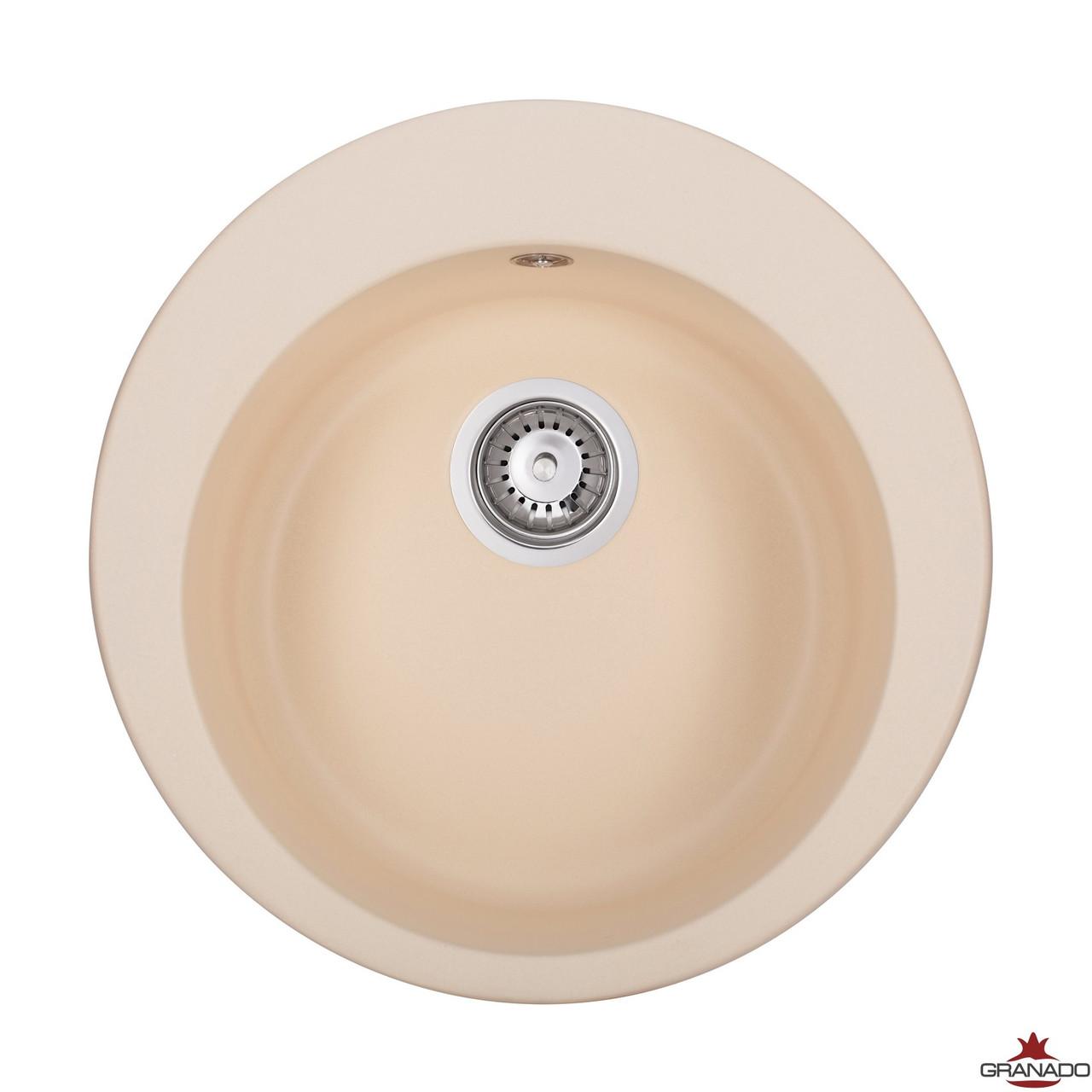 Мойка врезная из гранита для кухни от производителя Granado Vitoria цвет - Ivory круглой формы