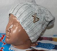 шапка  крупная вязка (на флисе) подросток