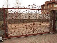 """Кованые ворота, откатные, под ключ. Фурнитура и автоматика пр-тва Италия.  Покраска супер эмалью """"Alpina""""."""