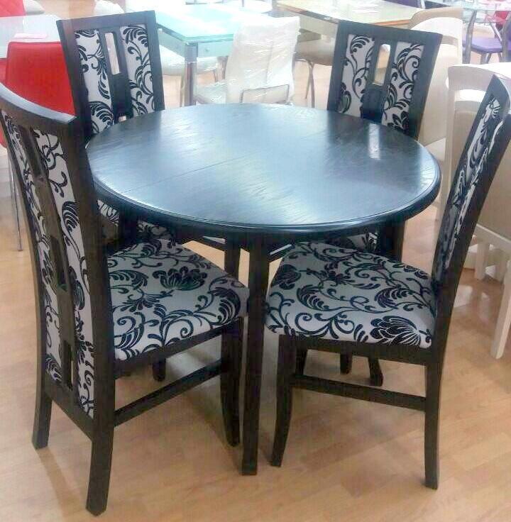 Стол обеденный круглый  раскладной   ЭЛИС   Fusion Furniture, цвет  венге     (эмаль черная)