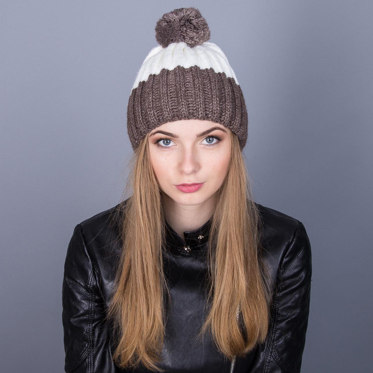 Модная зимняя женская шапка с помпоном крупной вязки из ангорки - Артикул 6995