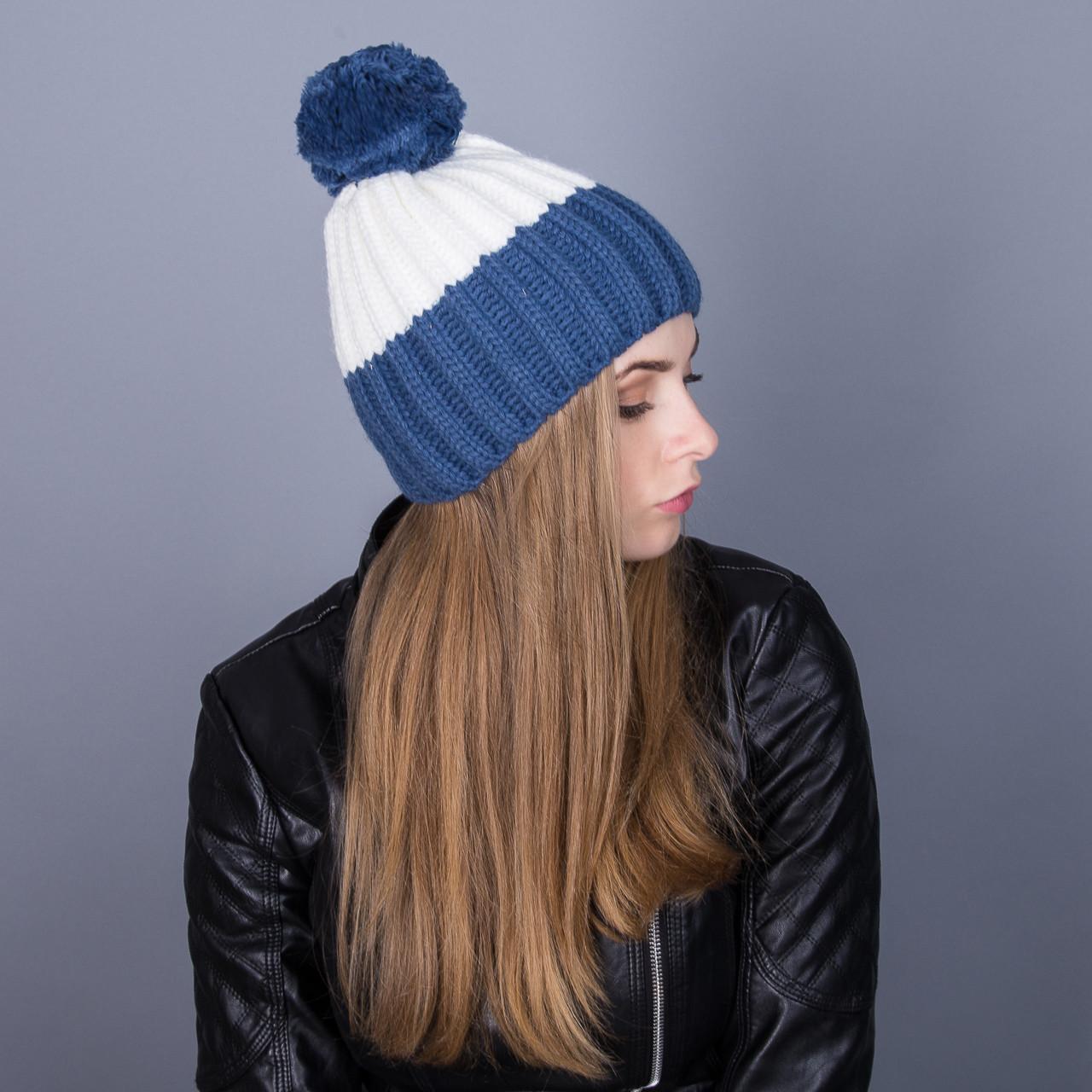 Модная зимняя женская шапка с помпоном крупной вязки из ангорки - Артикул 6997