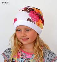 Шапка осень-весна на девочку Arctic Фантазия (белый, синий)