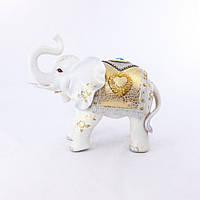 Роскошная фигурка белого слона хоботом к верху, высотой 35см