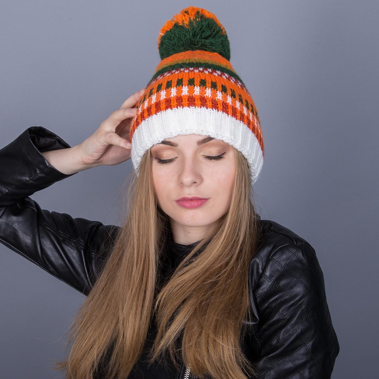 Разноцветная зимняя женская шапка с помпоном из ангорки - Артикул 7041